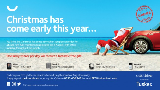 Poster showing Santa on a beach infront of a red car