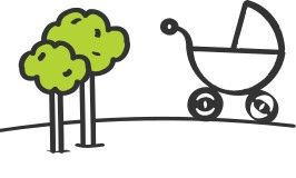 Cartoon pram on hill with two trees