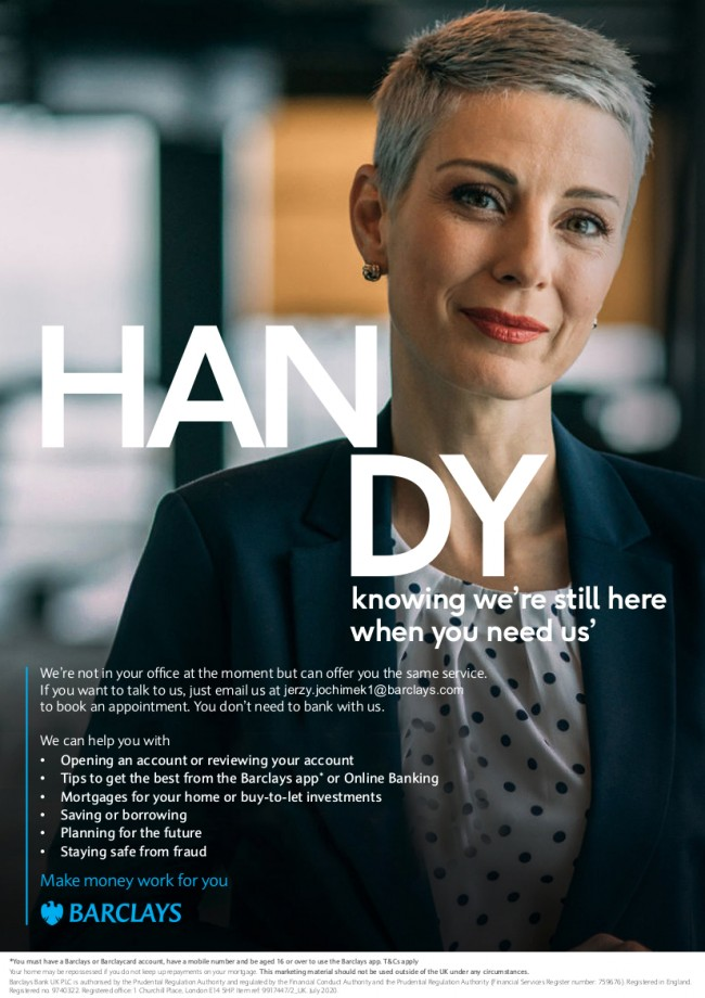Poster showing woman with short hair smiling and the text We're not in your office at the moment but can offer you the same service. If you want to talk to us, just email us at to book an appointment. You don't need to bank with us. We can help you with •