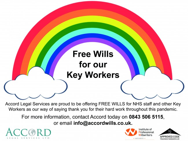 Rainbow picture offer NHS  staff free will service