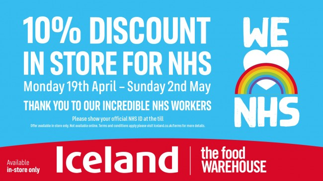 10% Discount for NHS at Iceland and The Food Warehouse visual